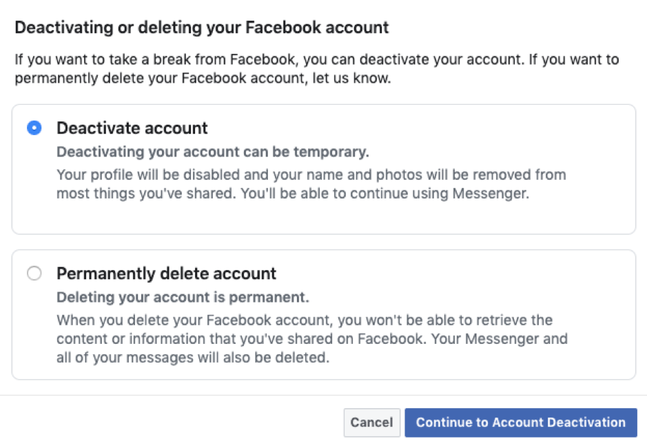 Account how deactivate do you facebook How to